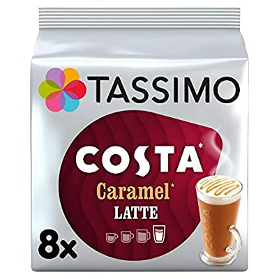 Tassimo Costa Caramel Latte Coffee Pods (Pack of 5, Total 80 pods, 40 servings)