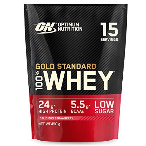Optimum Nutrition ON Gold Standard Whey Protein Pulver, Eiweißpulver Muskelaufbau mit Glutamin und Aminosäuren, natürlich enthaltene BCAA, Delicious Strawberry, 15 Portionen, 450g