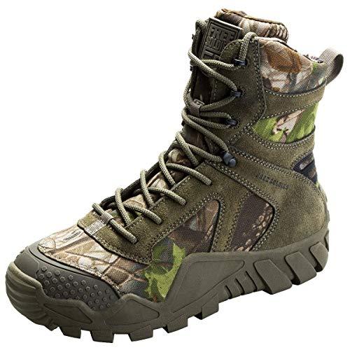 FREE SOLDIER Stivali da Caccia da Uomo Stivale Tattico da Combattimento Militare Alto Alto Allacciate Scarpe per Tutti i Terreni per Escursionismo, Lavoro(Camouflage, 45)