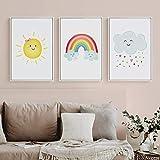Simple dibujos animados nórdicos amor nube de sol arco iris habitación de los niños decoración del hogar imagen impresa lienzo comedor porche 50x70cmx3 Sin marco