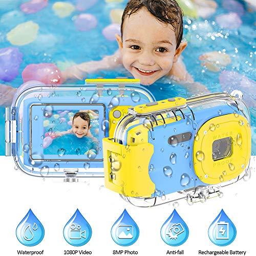 Kinderkamera Kinder Kamera Kinder wasserdichte Kamera 8MP 1080P Unterwasserkamera für Kinder 2-Zoll-Bildschirm Fotoapparat Kinder für Mädchen Jungen Geschenke