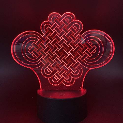 MRQXDP Led-nachtlampje met Chinese knoop, acrylplaat, voor thuis, kantoor, ruimte, decoratief nachtlampje, baby, kinderkamer, slaapkamer, nachtkastje, lampje, acrylplaat