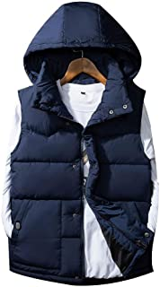 (ボナ)BONA メンズ レディース ダウンベスト ダウンジャケット 中綿入り フード付 立ち襟 超軽量 防寒 暖かい 袖 なし