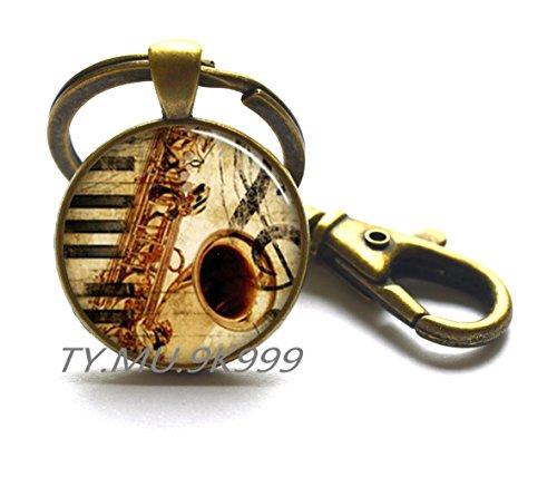 Saxophon & Musik-Schlüsselanhänger, Saxophon-Schlüsselanhänger, Musiklehrer, Geschenk für Musik-Studenten, Geschenk für Musikliebhaber. Y018