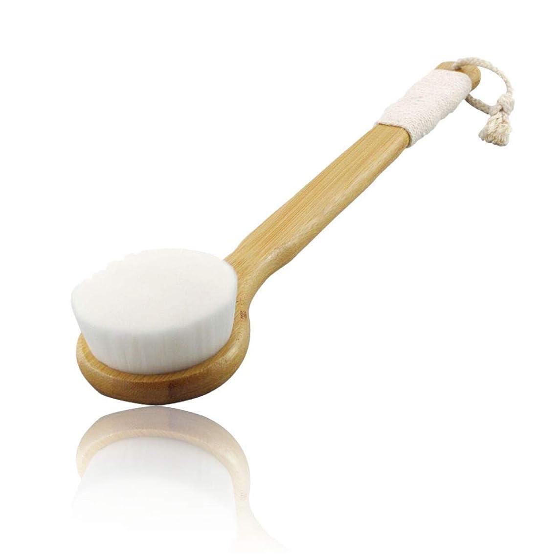 遠洋の代表するディスクボディースポンジ 洗顔ブラシ 竹製長柄 やわらかボディブラシ 背中 毛穴 ボディ洗浄 白