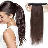 SEGO Haarteil Zopf Pferdeschwanz Echthaar Clip in Ponytail Extension Haarverlängerung Hair Piece glatt Dunkelbraun#2 Dunkelbraun#2 18'(45cm)-90g
