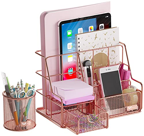 Orgowise Mesh Desk Organizers and Accessories Set. Rose Gold Desktop Organizer with Pen Holder and...