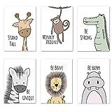 Kinderzimmer Poster Set 6 Stück, DIN A4, Tierische
