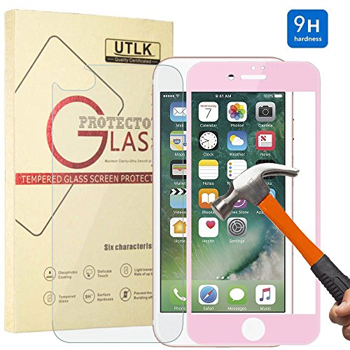 iPhone 8 Plus 7 Plus Screen Protector,[Pink] UTLK 3D Fully Cover Colored Front Back Glass 9H Hardness Premium Tempered Glass Screen Protector for iPhone 8 Plus iPhone 7 Plus 5.5 inch Anti-Scratch