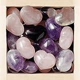 Piedras preciosas 'corazón', 3-modelos surtidos, Amatista, cuarzo, cuarzo rosa, diámetro 2.5 cm, en caja de madera