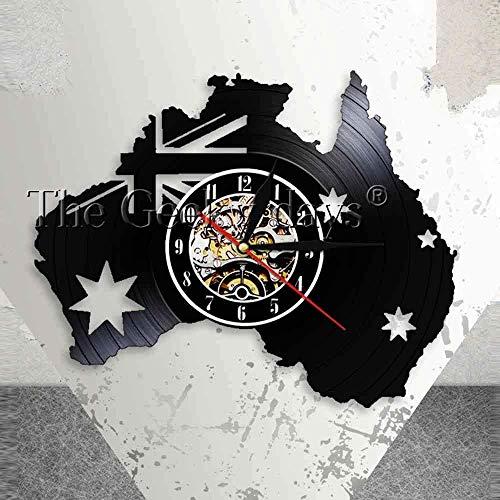 Australien Patriotische Wanduhr AU Home Decor Karte Australien Flagge Queensland Perth Canberra Melbourne Schallplatte Wanduhr