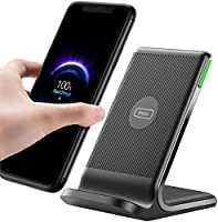 INIU Wireless Charger, 15W Qi-Certified Fast Wireless Charging Stand with Dual Coils & Sleep-Friendly Adaptive Light...