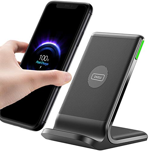 INIU Wireless Charger, 15W Schnellladeständer Kabellose Ladestation Qi-Zertifiziert Ladegerät Kompatibel mit iPhone 12 11 Pro Max Xr Xs X 8 Samsung Galaxy S21 S20 S10 S9 S8 Note10 9 AirPods usw.