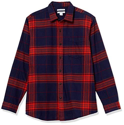 Amazon Essentials Men's Regular-Fit Long-Sleeve Flannel Shirt, Large Navy/Orange Plaid, Small