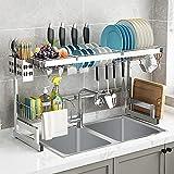 Scolapiatti sopra il lavandino, per la cucina (82 cm all'interno), scolapiatti con porta utensili, scolapiatti per stoviglie