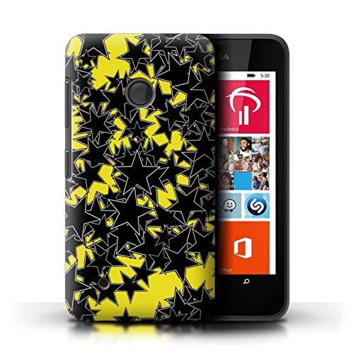 Custodia/Cover/Caso/Cassa Rigide/Prottetiva STUFF4 stampata con il disegno Spargimento Stelle per Nokia Lumia 530 - Casuale Giallo