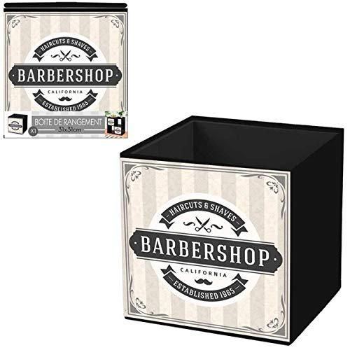 Les Trésors De Lily [Q4496 - Cube de Rangement 'Barbershop' Beige Gris - 31x31 cm