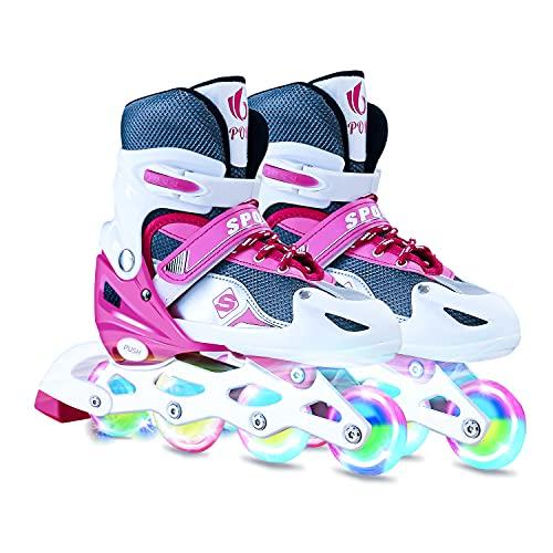 Einstellbar Inlineskates für Kinder und Erwachsene,Dreifach Schutz Alle Leuchträder Roller Skates für Jungen Mädchen Anfänger Größe(26-41)
