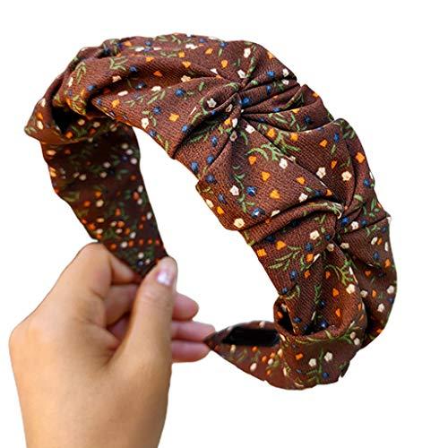 Yanhonin - Aro de pelo para mujer, diseño vintage con estampado floral y arrugado, banda ancha
