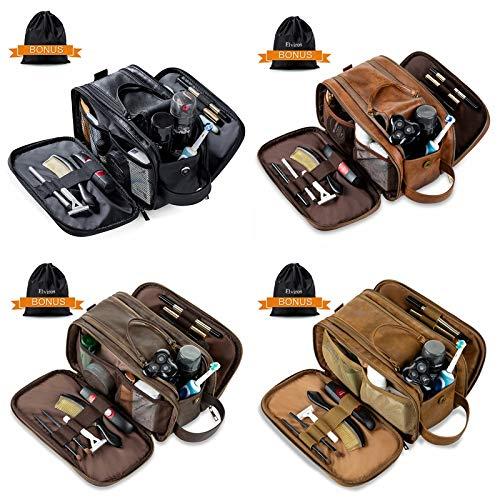 Elviros Toiletry Bag for Men, Large Travel Shaving Dopp Kit Water-resistant Bathroom Toiletries Organizer PU Leather Cosmetic Bags (Black+Brown+Khaki+Dark coffee)