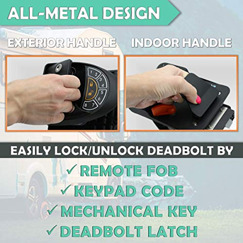 Rv Keyless Entry Door Lock | Rv Lock Keyless Entry | 100% Metal Rv Door Lock w/ 2 Key-fobs and Backlit Keypad | Includes Protective Gasket, Screwdriver
