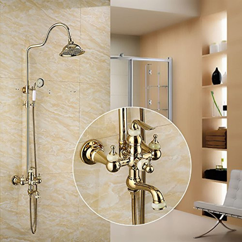 Doccia pieno di rame europa vintage Gold jade doccia doccia insieme rame intarsiata corpo doccia