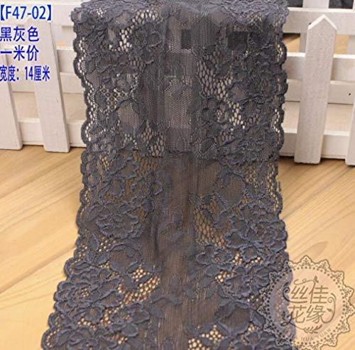 1 meter stretch elastische kanten rand Mooi bloempatroon Naaibenodigdheden Grijs roze kantstof Te koop DIY kledingstuk 14 cm, grijs zwart