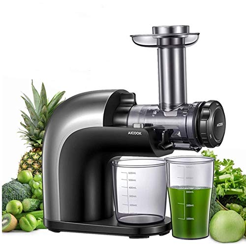 AICOOK Juicer Machines, No Filter Cold Press Juicer Easy to Clean, Dishwasher Safe and Cleaning Brush Included, 3 Juicing Modes for Whole Fruits and Vegetables with 95% More Nutrition, Higher Juice Yield