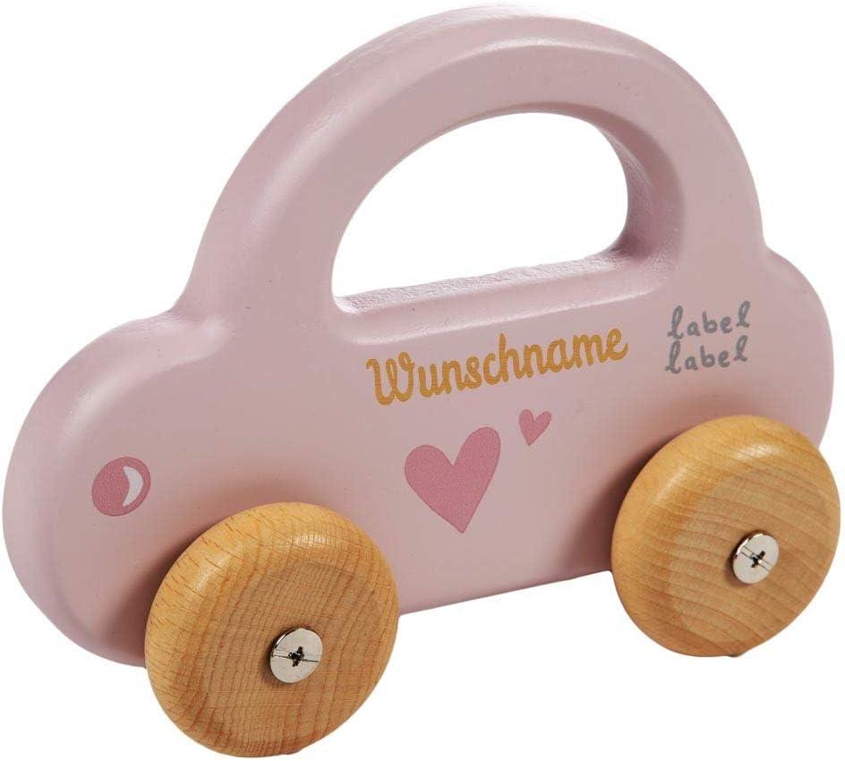 Elefantasie Spielzeug Auto aus Holz mit Namen graviert Mint