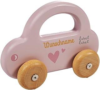 Elefantasie Elefantasie Spielzeug Auto aus Holz mit Namen graviert rosa