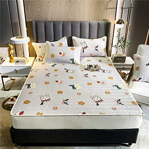 GTWOZNB Snugly Around Your Mattress Hypoallergenic, Breathable Bed Sheets Are Oh-So-Soft Bed Sheet Style Summer Mat-Sweet Bunny_150*200cm