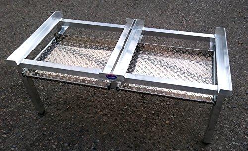 Waschmaschinen Untergestell Mara 2 Höhe 50 cm 4 Beine 2 Auszüge Made in Germany Verstärkte Aluminium - Ausführung Teleskop-Auszüge rappelfrei rostfrei Unterbau für 2 Maschinen