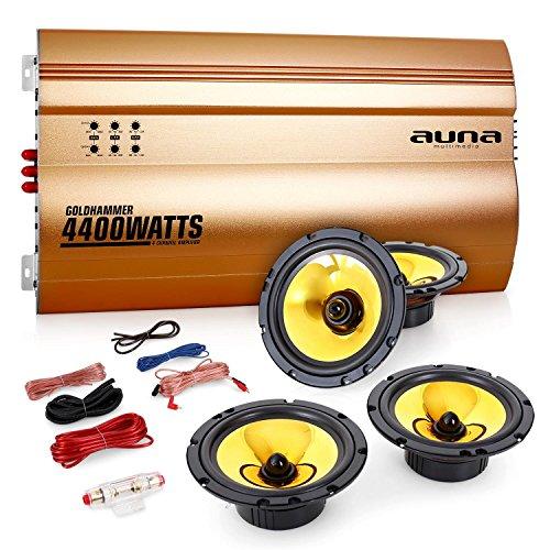 AUNA Golden Race V4 Set Car Audio 4.0 Casse Amplificatore (4400 Watt, Coppia Altoparlanti 16cm, Controlli di Regolazione, Set Completo di Cavi)