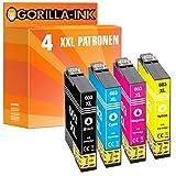 Gorilla-Ink 4 Patronen XXL kompatibel mit Epson 603 XL 603XL | Geeignet für Epson Expression Home XP-2100 XP-2105 XP-3100 XP-3105 XP-4100 XP-4105
