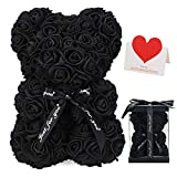 LINKLO Rose Bear Rose Teddy Bear -10 inch Artificial Rose Flower Bear, Gift for Valentines Day, Wedding, Mothers Day and Anniversary, Including Transparent Gift Box (Black)