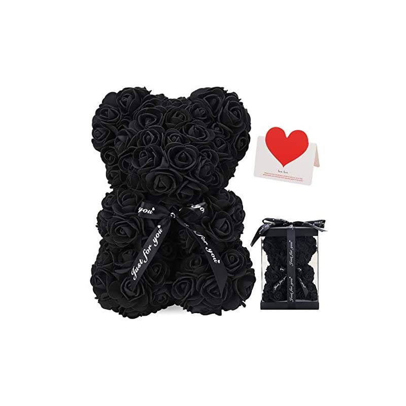 silk flower arrangements linklo rose bear rose teddy bear -10 inch artificial rose flower bear, gift for valentines day, wedding, mothers day and anniversary, including transparent gift box (black)