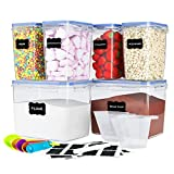 6 Pack Airtight Food Storage Containers - Plastic BPA Free Kitchen Pantry Storage