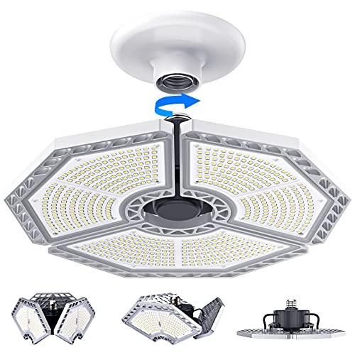 LED Garage Lights, 140W 18500 Lumens Garage Lighting, 6000K Daylight with Deformable Three Panels Garage Ceiling Light Fixture E26/E27 Triple Glow LED Shop Light for Garage Basement Workshop Warehouse