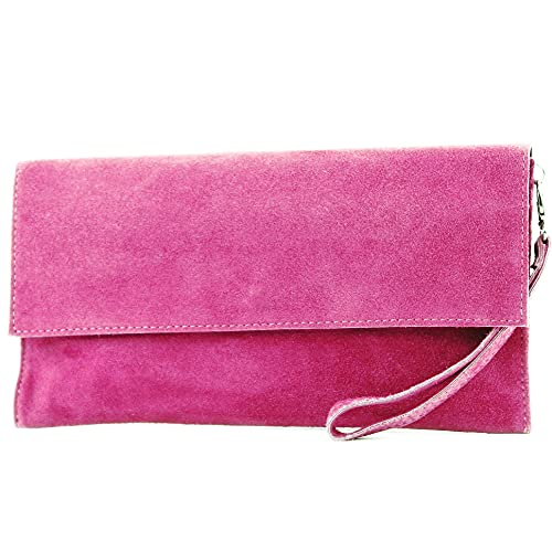 modamoda de - cuero italiano de embrague T151 Pequeño Gamuza, Color:Rosa Muy Oscuro