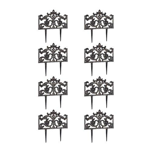 Relaxdays 8er Set Beetzaun Gusseisen, mit Erdspieß, einfaches Stecksystem, Zierzaun, H x B x T 37 x 36 x 2 cm, Bronze