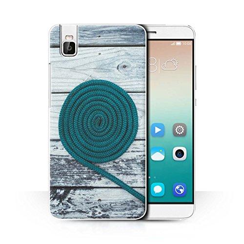 Stuff4® Hülle/Case für Huawei Honor 7i/ShotX/Seil/Holz/Deck Muster/Teal Mode Kollektion