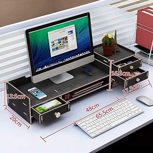 DAGCOT Tabla Ordenador portátil Monitor de Soporte de Madera Ordenador portátil PC Monitor TV Soporte Vertical Escritorio del Organizador del almacenaje del Blanco 2 Niveles (2 cajones) +3 Niveles