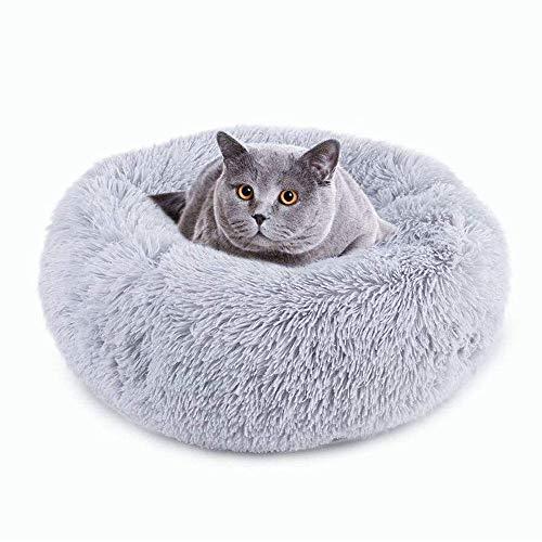 Plush Pet Bed, Dog Cat Round Warm Cuddler Kennel Soft Puppy Sofa, Cat Cushion Bed Sleeping Bag, Anti-Slip Bottom,Machine Washable-XL-31.5 inch_Grey
