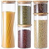GENICOOK Vorratsdosen aus Glas mit Bambus Deckel Küche 5er-Set Vorratsgläser, Müsli Schüttdose & Frischhaltedosen, Aufkleber, BPA frei…
