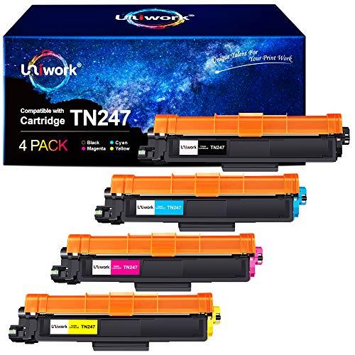 Uniwork TN247 Cartuchos de tóner Compatible para Brother TN247 TN-247 TN243 TN-243 para Brother HL-L3210CW MFC-L3710CW DCP-L3550CDW DCP-L3510CDW HL-L3230CDW HL-L3270CDW MFC-L3730CDN, Pack de 4