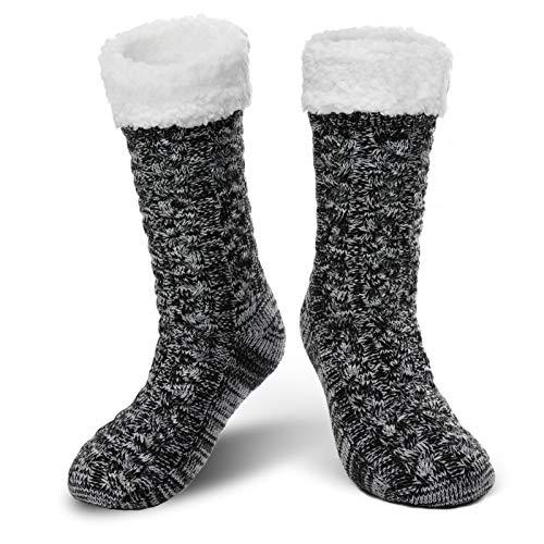TAGVO Männer Verdicken Fuzzy Gestrickter Slipper Socken Lounge Bett Chunky Stuffers Fleece Gefüttert Strumpf Xmas Gripper Anti Rutsch Socken Rutschfeste Boote