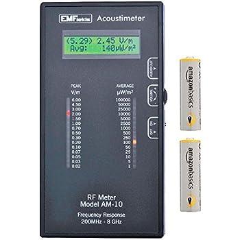 Acoustimeter AM-10 EMF Meter Bundled with Extra Batteries and Case by EMFields | Find EMR Hot Spots | Widest Spectrum 0.2-8.0GHz | Measure Peak and Average RF Exposure | Listen with Built-in Speaker