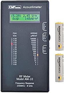 Acoustimeter AM-10 EMF Meter Bundled with Extra Batteries and Case by EMFields | Find EMR Hot Spots | Widest Spectrum 0.2-8.0GHz | Measure Peak and Average RF Exposure | Listen with Built-in Speaker