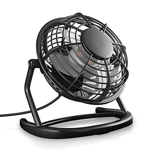 CSL - USB Ventilator - Tischventilator Fan Lüfter - optimal für den Schreibtisch inkl. An Aus Schalter - Kompatibel am PC MAC Notebook Computer - in schwarz