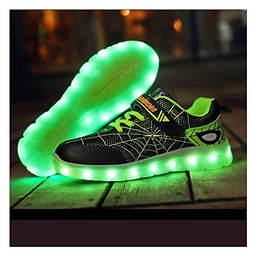 Tenis Con Luces,LED Zapatos Ligero Transpirable Bajo 7 Colores USB Carga Luminosas Flash Deporte De Zapatillas Con Luces Los Mejores Regalos Para Cumpleaños De Navidad, (26-37) black-27